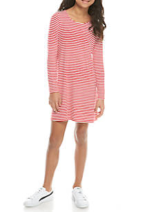 33ffb862494b J. Khaki® Long Sleeve Candycane Stripe Jersey Swing Dress Girls 7-16 ...