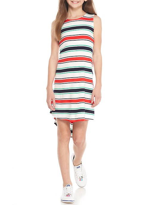 Crown & Ivy™ Sleeveless Striped High Low Knit