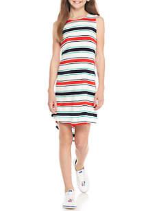 Sleeveless Striped High Low Knit Dress Girls 7-16