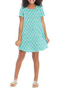 Crown & Ivy™ Girls 7-16 Mint Lattice Swing Dress