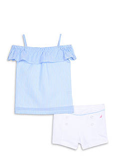 Nautica Striped Top and Woven Shorts 2-Piece Set Girls 4-6x