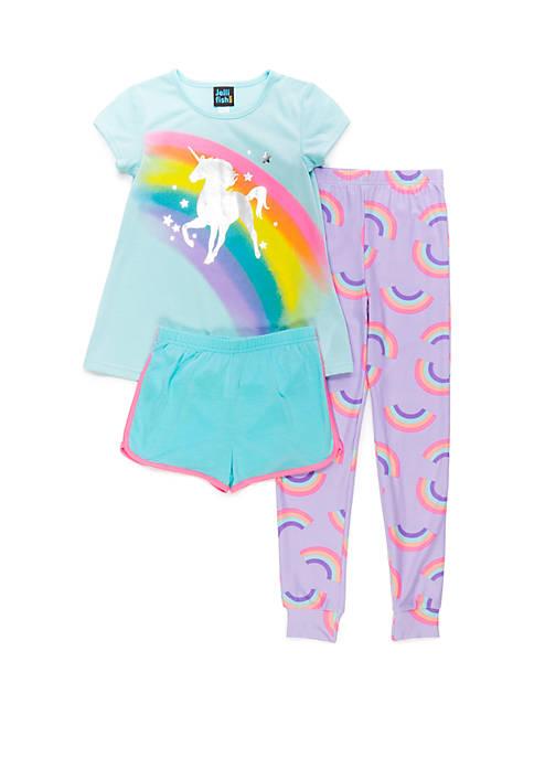 Jellifish Kids Girls 4-16 3 Piece Pajama Set