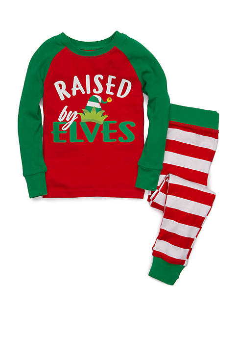 Joyland Girls 7-16 Red Elf 2 Piece Pajama