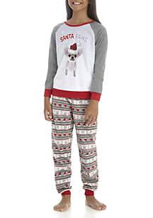 Girls 4-16 Santa Paws Pajama Set