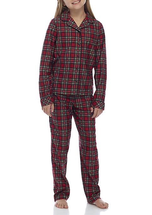 Girls 4-16 Traditional Plaid Pajama Set