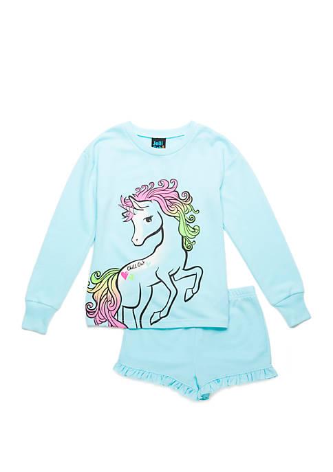 Jellifish Kids Girls 4-16 Sweatshirt and Shorts Pajama
