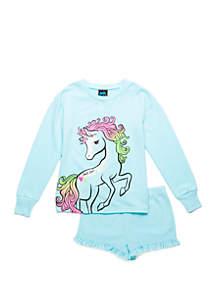 Jellifish Kids Girls 4-16 Sweatshirt and Shorts Pajama Set