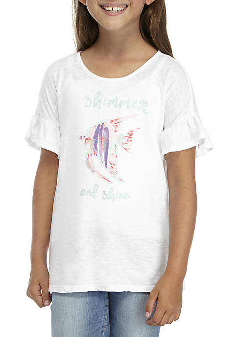 Crown & Ivy™ Girls 7-16 Short Sleeve Fish