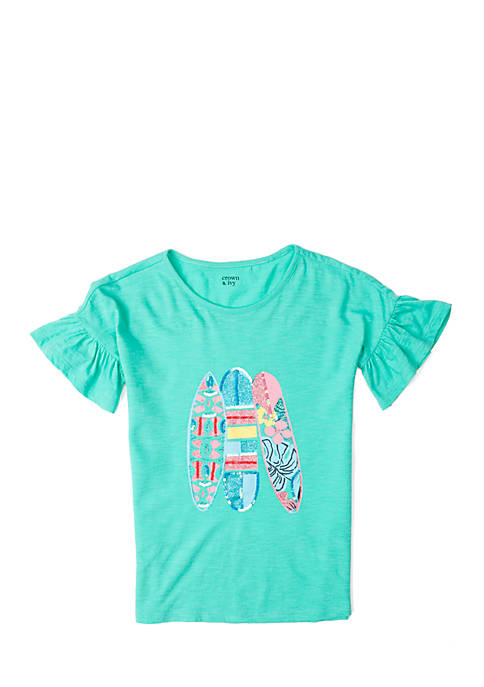 Crown & Ivy™ Girls 7-16 Short Sleeve Surf