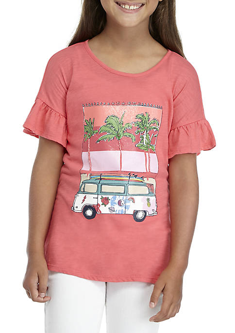 Crown & Ivy™ Girls 7-16 Short Sleeve Palm