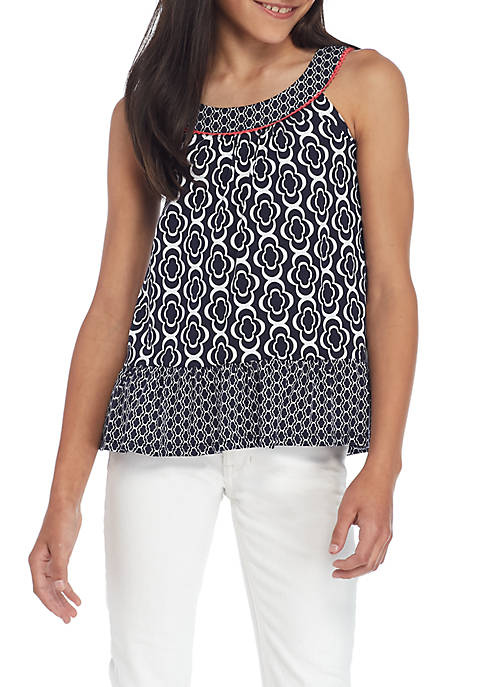 Crown & Ivy™ Girls 7-16 Sleeveless Peplum Tank