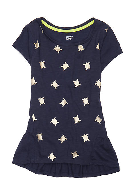 Crown & Ivy™ Girls 7-16 Short Sleeve Screen