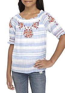 Girls 7-16 Short Sleeve Smock Embellished Top