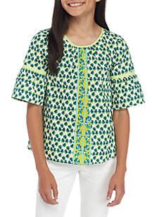 Girls 7-16 Short Sleeve Print Top