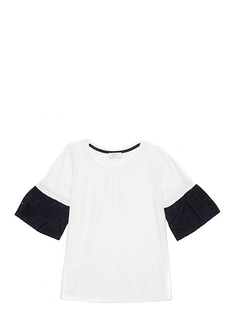Crown & Ivy™ Girls 7-16 Short Sleeve Lace