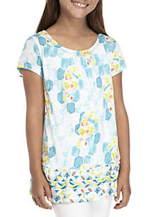 Girls 7-16 Short Sleeve Bow Back Print Top
