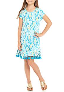 Girls 7-16 Short Sleeve Printed Ruffle Hem Dress