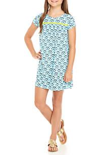 Girls 7-16 Sleeveless Printed Bar Back Dress