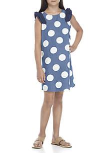 Girls 7-16 Short Sleeve Chambray Print Dress