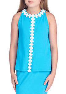 Crown & Ivy™ Girls 7-16 Sleeveless Crochet Solid Top
