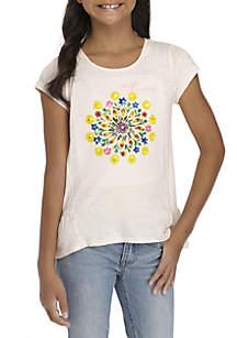 Girls 7-16 Short Sleeve Peplum Print Tee