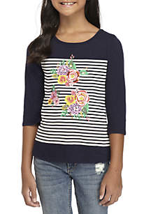Girls 7-16 Three-Quarter Sleeve Floral Screen Print Tee