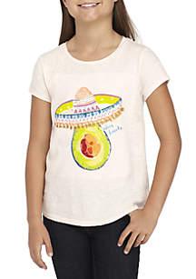 Girls 7-16 Short Sleeve Avocado Screen Print Tee