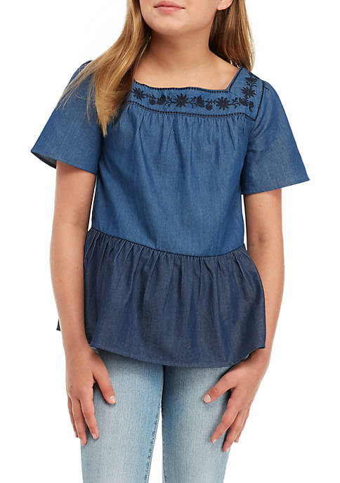 Crown & Ivy™ Girls 7-16 Two-Tone Chambray Top