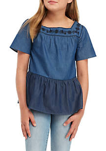 Girls 7-16 Two-Tone Chambray Top