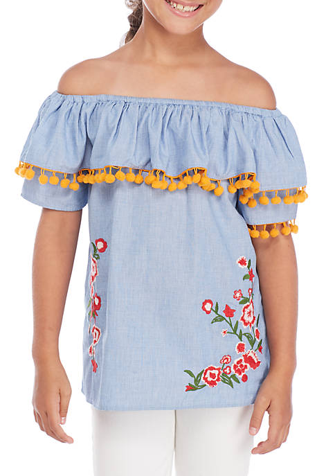 Crown & Ivy™ Girls 7-16 Embroidered Top