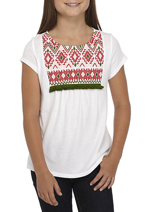 Crown & Ivy™ Girls 7-16 Short Sleeve Embroidered