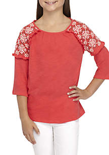 Girls 7-16 Three-Quarter Sleeve Embroidered Top