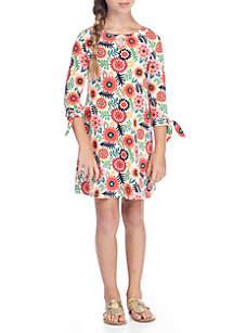 Girls 7-16 Three-Quarter Tie Sleeve Print Dress
