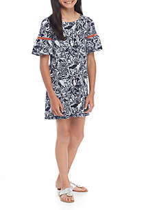 Girls 7-16 3/4 Lace Sleeve Dress