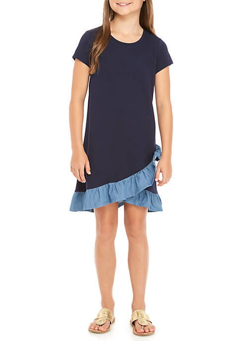 Crown & Ivy™ Girls 7-16 Short Sleeve Ruffle