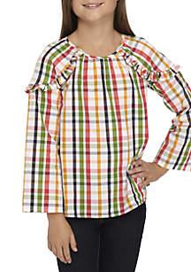 Girls 7-16 Long Sleeve Shoulder Ruffle Top