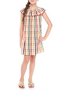 Girls 7-16 Short Sleeve Ruffle Dress