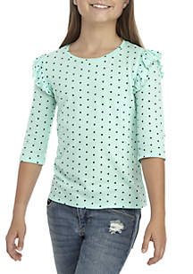 Girls 7-16 3/4 Ruffle Sleeve Top