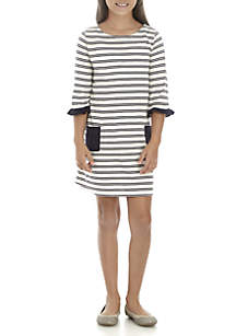 Girls 7-16 3/4 Ruffle Sleeve Pocket Dress