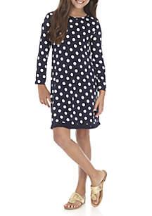 Girls 7-16 Long Sleeves Polka Dot Dress