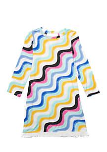 Girls 7-16 Long Sleeve Print Fringe Dress