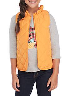 Girls 7-16 Ruffle Quilt Vest