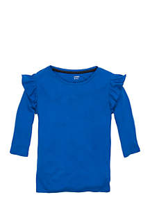 Girls 7-16 Three-Quarter Ruffled Top