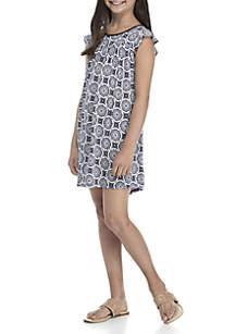 Girls 7-16 Short Ruffle Sleeve Print Dress