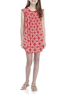 Girls 7-16 Short Ruffle Sleeve Solid Dress