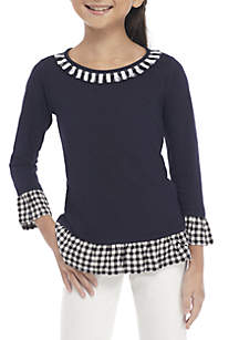 Girls 7-16 Long Sleeve Knit to Woven 2Fer