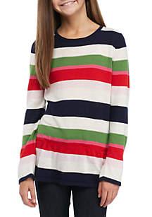 Girls 7-16 Long Sleeve Peplum Sweater