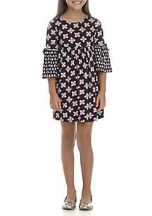 Girls 7-16 Long Bell Sleeve Print Bow Dress