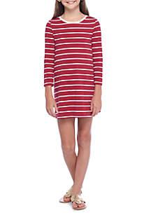 Girls 7-16 Long Sleeve Striped Shift Dress