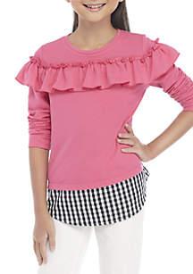 Girls 7-16 Long Sleeve Knit to Woven Sweatshirt